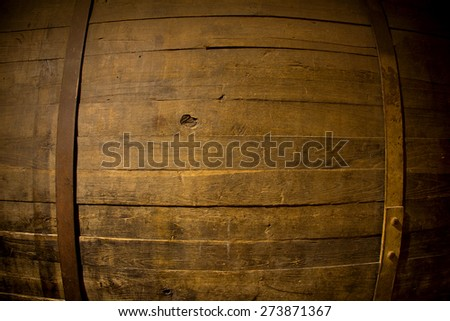 Rustic wooden barrel background - stock photo