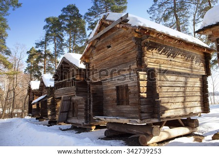 Rustic wooden house in the open-air museum Seurasaari island, Helsinki, Finland - stock photo