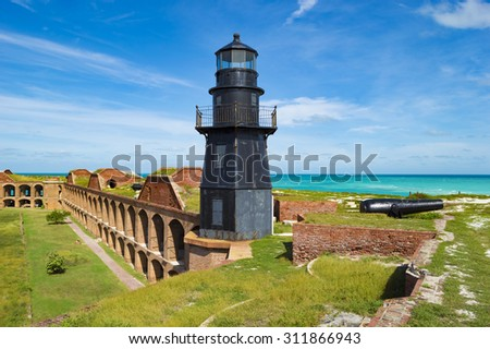 Rusting lighthouse atop Fort Jefferson. Dry Tortugas National Park, Florida. - stock photo