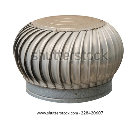 Rusty air ventilator on white background. - stock photo