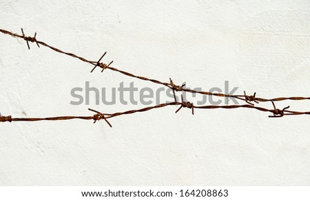 Rusty barbed  - stock photo