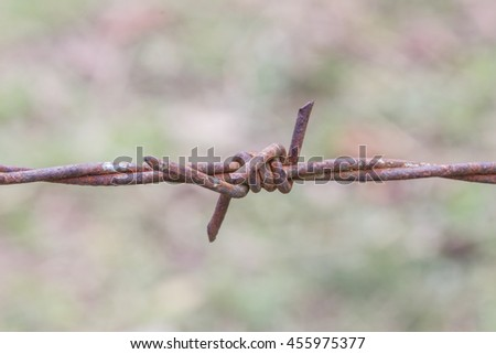 Rusty barbed wire in blur background. - stock photo