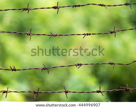 Rusty barbed wire on green background.Blurry rustic rusty grunge aged barbed wire rod fence. - stock photo