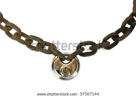 Rusty chain with new lock - stock photo