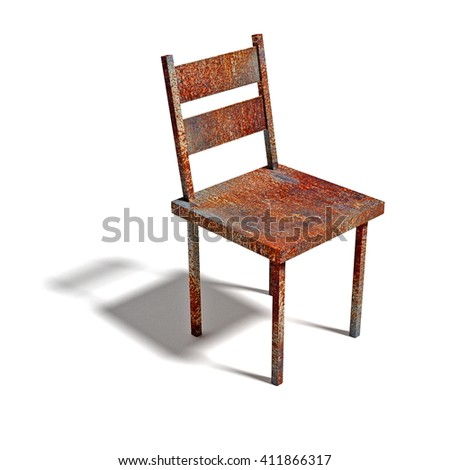 rusty chair  - 3D illustration - stock photo