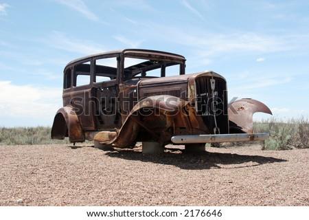 Rusty classic American car - stock photo