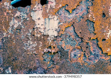 Rusty Colored Metal with cracked paint, grunge background, Blue and Orange texture vignette. - stock photo