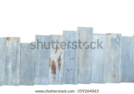Rusty corrugated metal isolate on white background with clipping path - stock photo