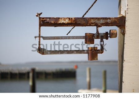 Rusty fishing scale - stock photo