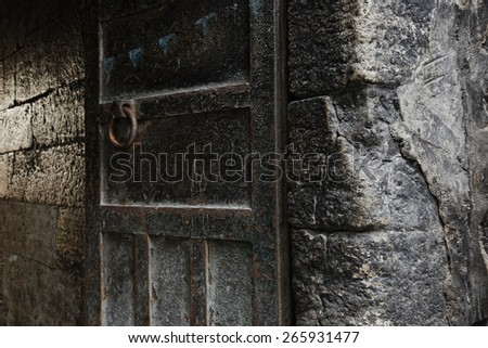 Rusty metal and stone wall backgrounds - stock photo