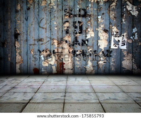 Rusty Metal Background Interior Stage - stock photo