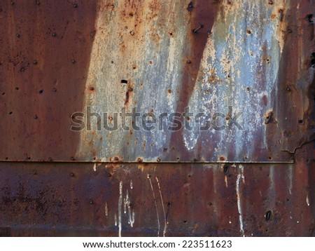 rusty metal corroded texture of old metal door - stock photo