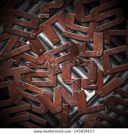 Rusty Metal Letters Background / Brown grunge and rusty metal letters with screws on metal background - stock photo