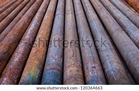 Rusty metal pipes at a Refinery  - stock photo