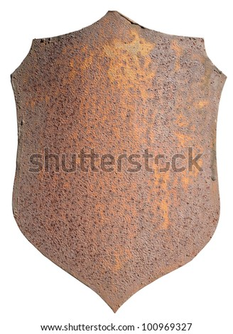 Rusty  metal plate isolated on white - stock photo