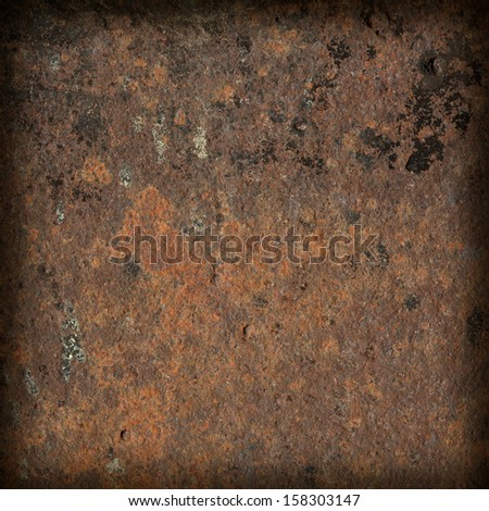 rusty metal texture, dark frame with blurred corners - stock photo