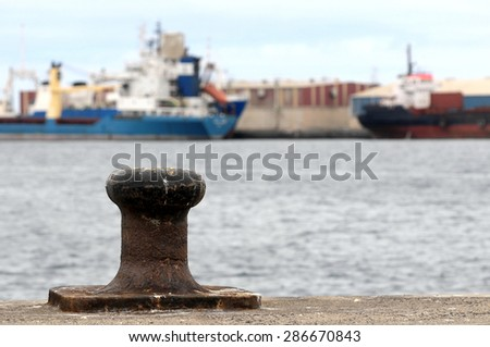 Rusty Mooring on a Pier , in Canary Islands, Spain - stock photo