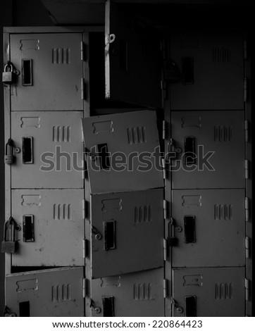 Rusty old broken grunge locker in monochrome style - stock photo