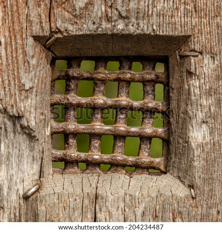 rusty old door window on a castle - stock photo