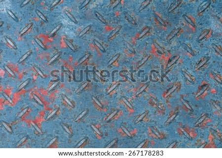 Rusty on Surface of Checkered Plate , Damage paint on surface of checkered pland - stock photo