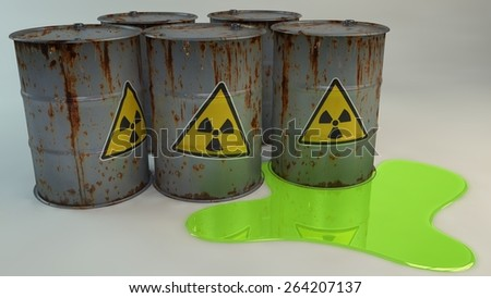Rusty radioactive barrels In a radioactive puddle. 3D - stock photo