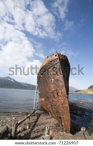 Rusty Ship in Iceland - stock photo