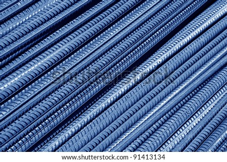 rusty steel bars construction materials, in a construction site, North China. - stock photo