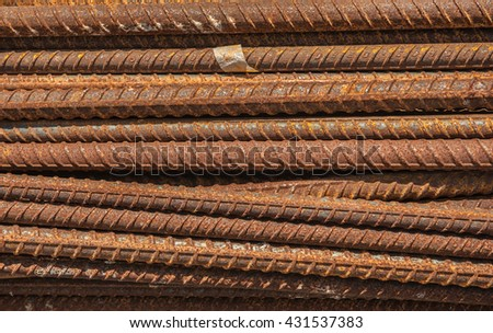 Rusty steel for construction  - stock photo