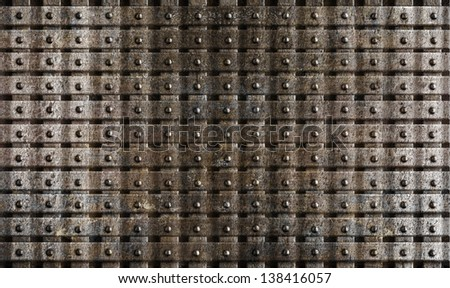 rusty steel metal medieval armour background - stock photo