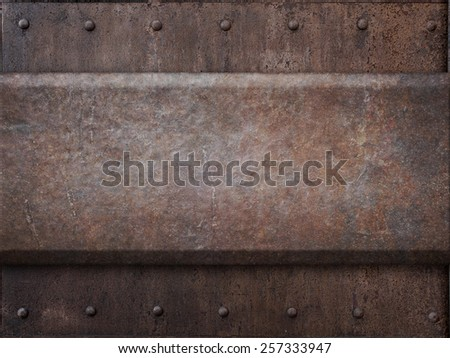 rusty tank armor metal texture with rivets as steam punk background - stock photo