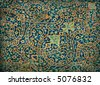 rusty tiled background, oriental ornaments from Isfahan Mosque, Iran - stock photo