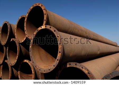 Rusty tubes. - stock photo