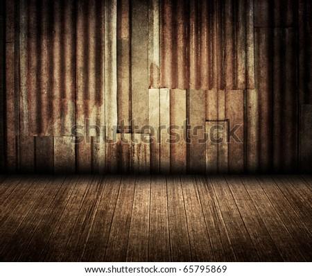 rusty zinc vintage room - stock photo