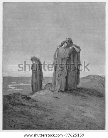 Ruth declares her love for her mother-in-law  - Picture from The Holy Scriptures, Old and New Testaments books collection published in 1885, Stuttgart-Germany. Drawings by Gustave Dore. - stock photo