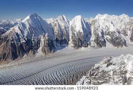 Ruth Glacier in the Alaska Mountain Range, Denali National Park and Preserve - stock photo