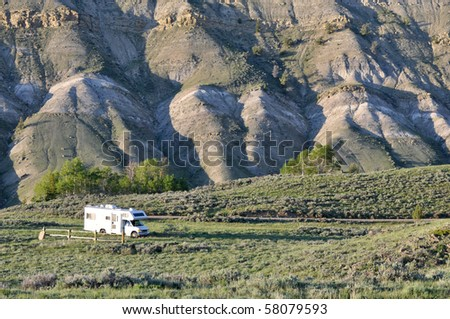 RV at secluded location - stock photo