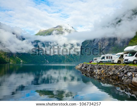 RV camping by a fjord in Norway - stock photo