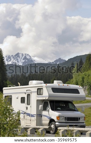 RV with a view - stock photo