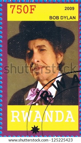 RWANDA - CIRCA 2009: A postage stamp printed in the Republic of Rwanda showing Bob Dylan, circa 2009 - stock photo
