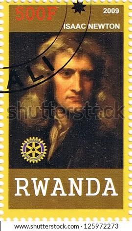 RWANDA - CIRCA 2009: A postage stamp printed in the Republic of Rwanda showing Isaac Newton, circa 2009 - stock photo
