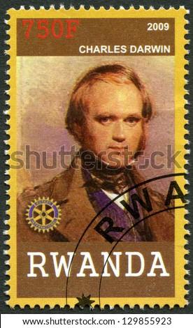 RWANDA - CIRCA 2009: A stamp printed in Republic of Rwanda shows portrait Charles Darwin (1809-1882), circa 2009 - stock photo