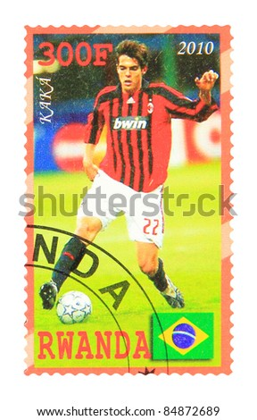 RWANDA - CIRCA 2010: A stamp printed in Rwanda showing Kaka, circa 2010 - stock photo