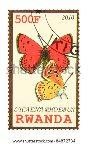 RWANDA - CIRCA 2010: A stamp printed in Rwanda showing Moroccan Copper butterfly, circa 2010 - stock photo