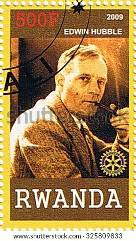 RWANDA - CIRCA 2009: A stamp printed in Rwanda shows Edwin Hubble, series, circa 2009 - stock photo