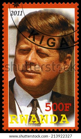 RWANDA - CIRCA 2011: A used postage stamp from Rwanda depicting an image of John. F. Kennedy (35th President of the United States of America), circa 2011. - stock photo