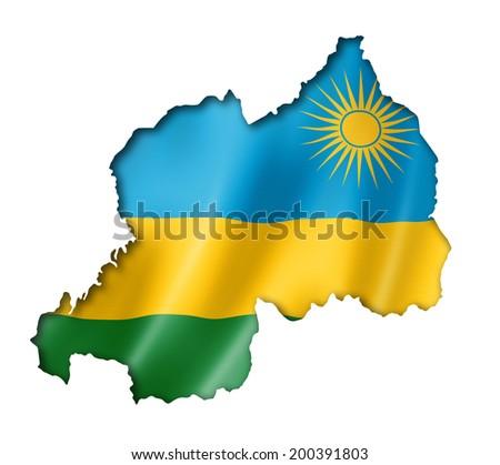Rwanda flag map, three dimensional render, isolated on white - stock photo