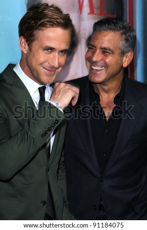 "Ryan Gosling and George Clooney at the ""The Ides Of March"" Los Angeles Premiere, Academy of Motion Picture Arts and Sciences, Beverly Hills, CA. 09-27-11 - stock photo"