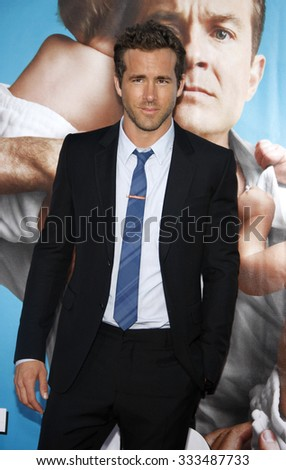 """Ryan Reynolds at the Los Angeles Premiere of """"The Change-Up"""" held at the Mann Village Theater in Los Angeles, California, United States on August 1, 2011.  - stock photo"""