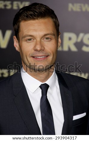Ryan Seacrest at the Los Angeles premiere of 'New Year's Eve' held at the Grauman's Chinese Theatre in Hollywood on December 5, 2011.   - stock photo