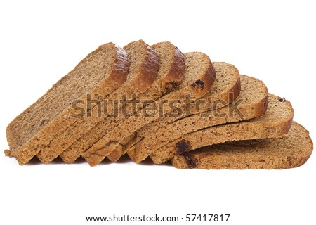 rye bread on white background - stock photo